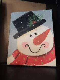 snowman theme paint on canvas - Google Search | Christmas ...