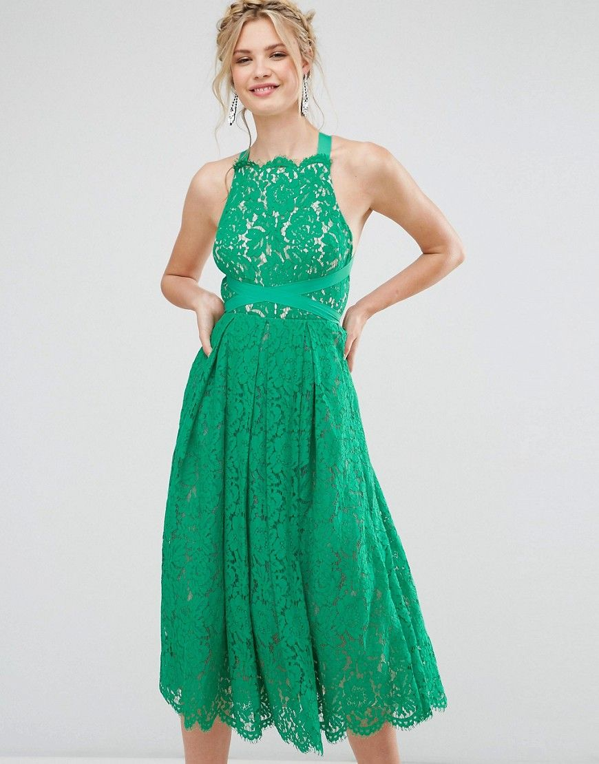 ASOS TALL SALON Lace Pinny Backless Full Midi Prom Dress - Multi ...