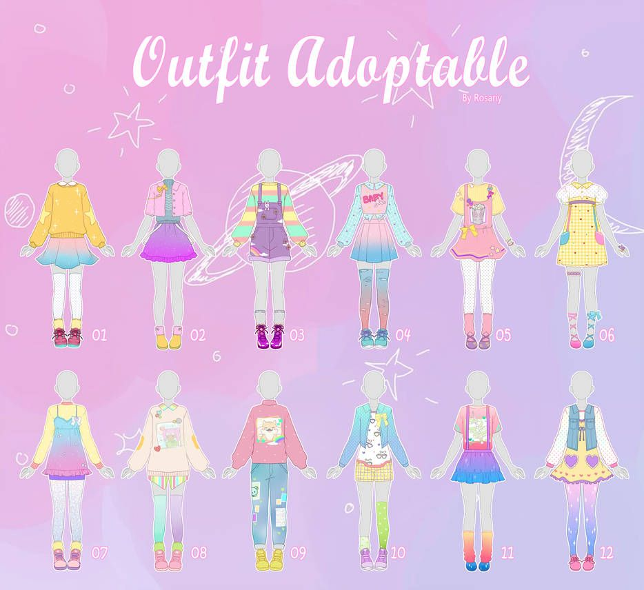 Open 2 12 Casual Outfit Adopts 43 By Rosariy On Deviantart Drawing Anime Clothes Drawing Clothes Fashion Drawing