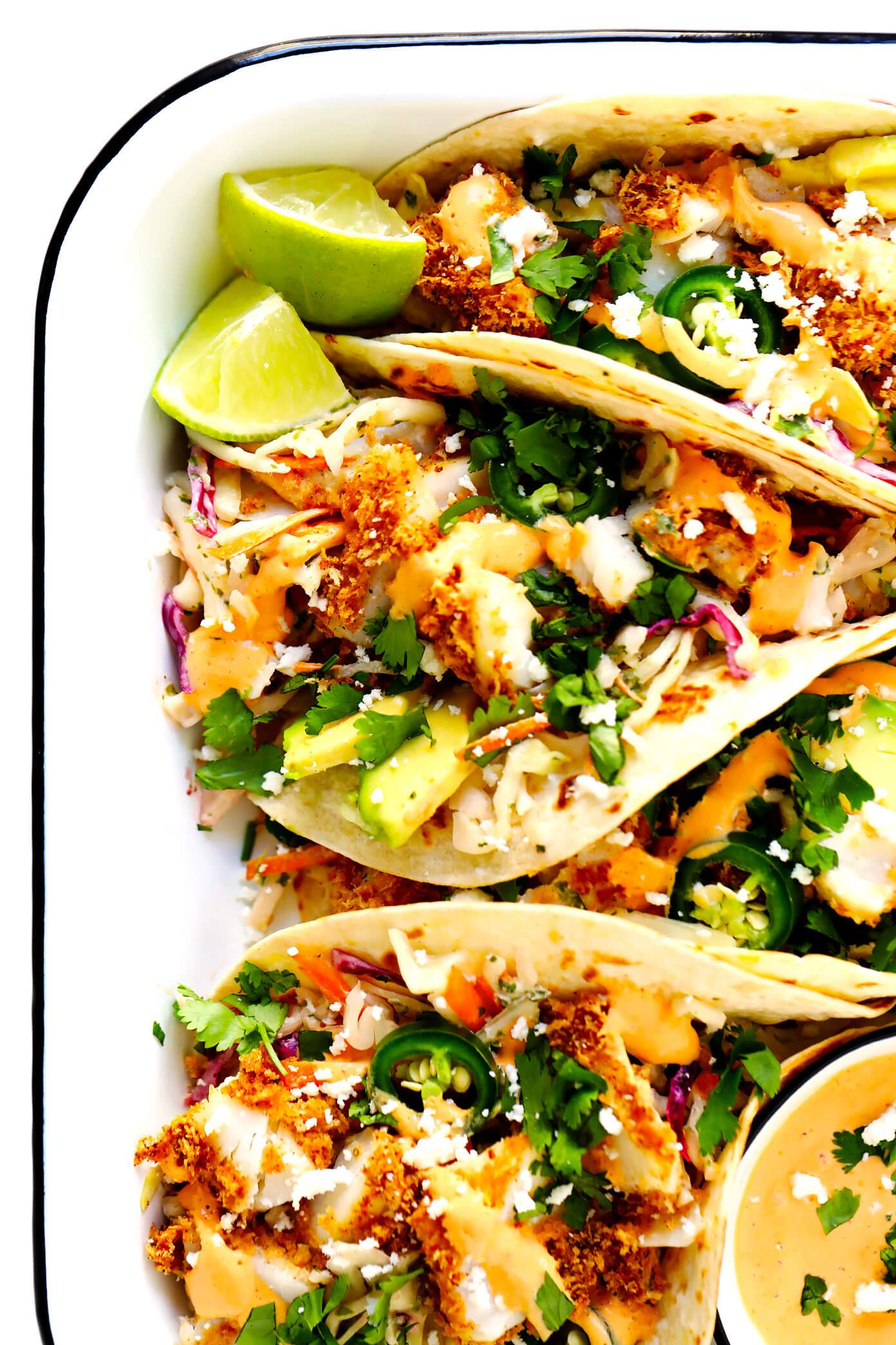 Life Changing Crispy Baked Fish Tacos Gimme Some Oven Recipe Baked Fish Tacos Fish Tacos Recipe Best Fish Taco Recipe