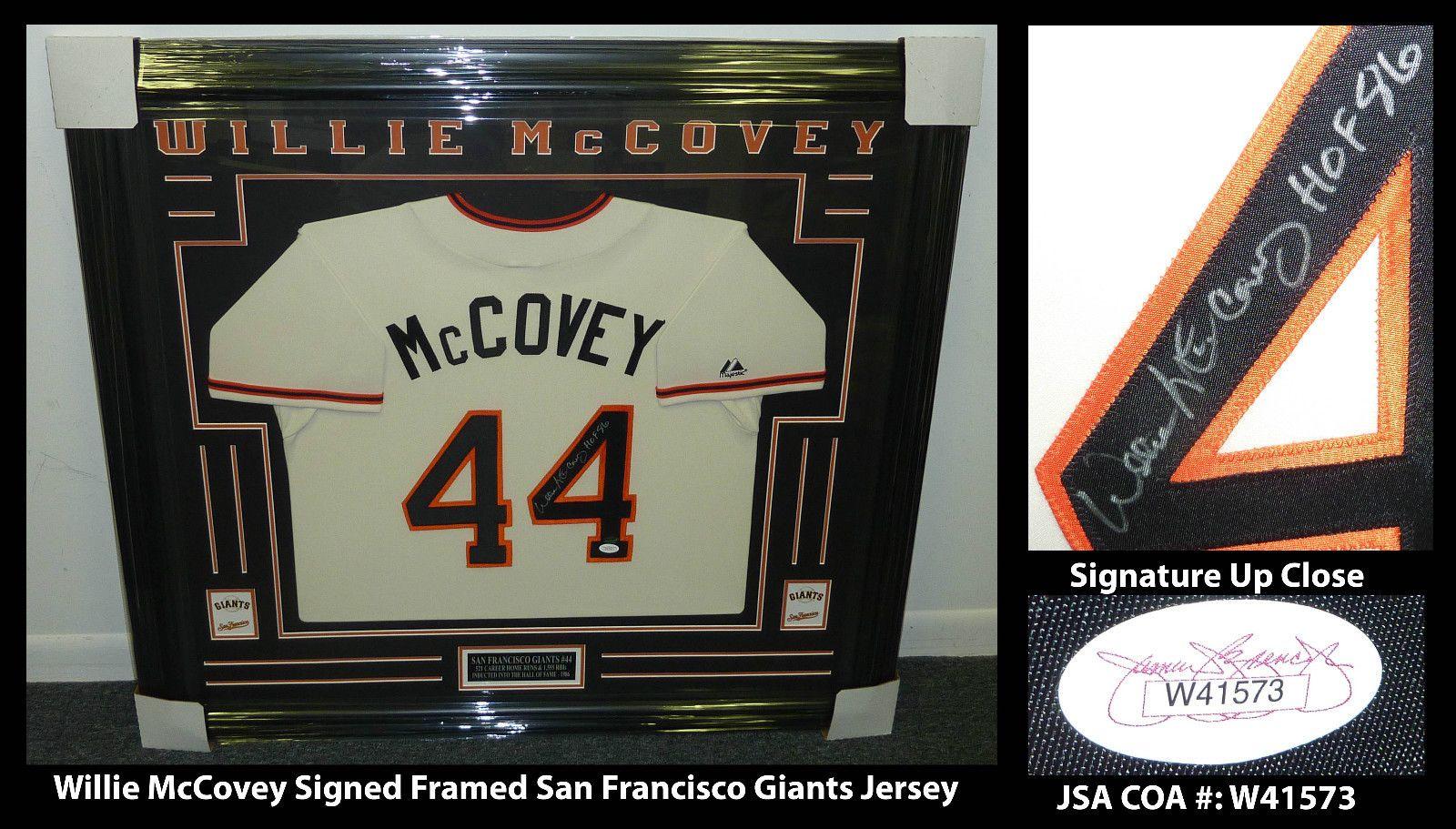 Hof Willie Mccovey 36x40 Framed Signed San Francisco Giants Jersey