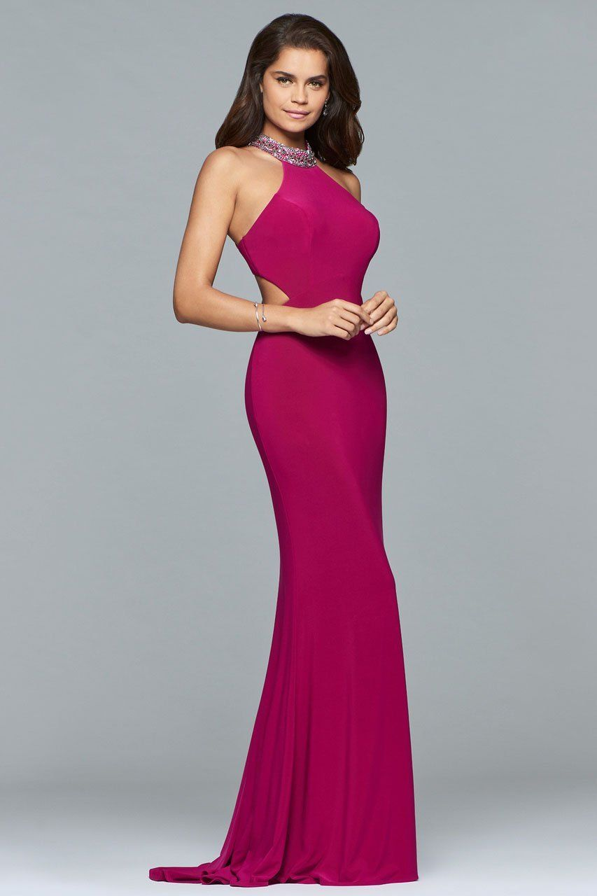 Faviana – 10038 Jewel Adorned Halter Cutout Gown