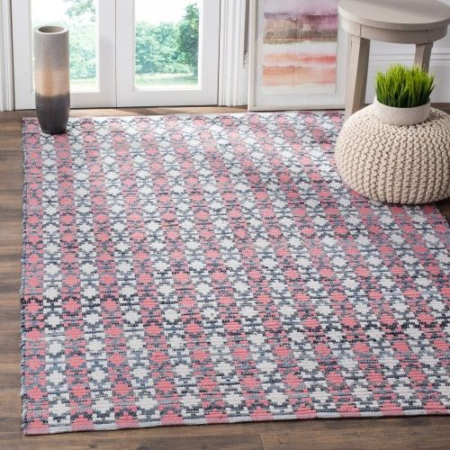 Safavieh Montauk 5' X 8' Hand Woven Cotton Pile Rug in Coral