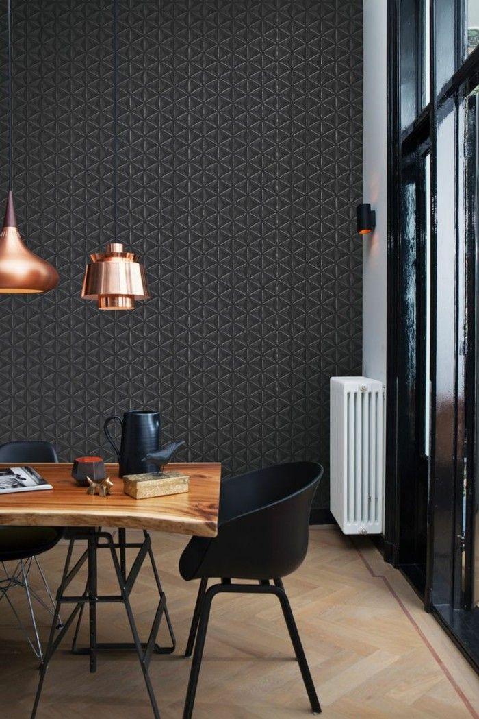 Wanddesign Ideen Schicke Wandgestaltung In Dunklen Farbtönen