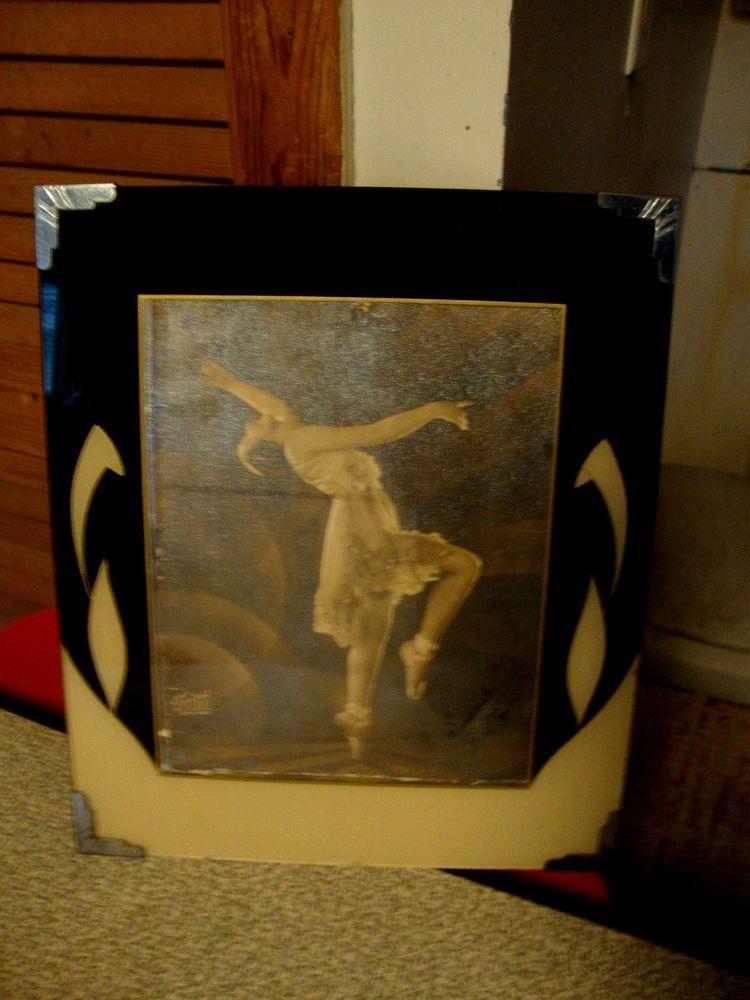 Vintage Art Deco Picture Frame Reverse Painted Artdeco Art Deco