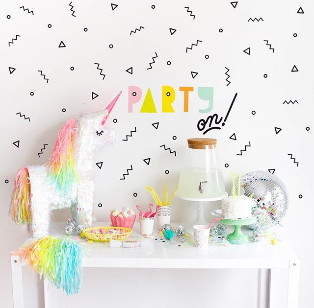 Unicorn party! In the @ohhappyday archives. I loved these decals we used for the party.