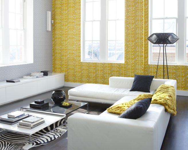 photo of contemporary funky retro grey yellow wallpaper direct ...