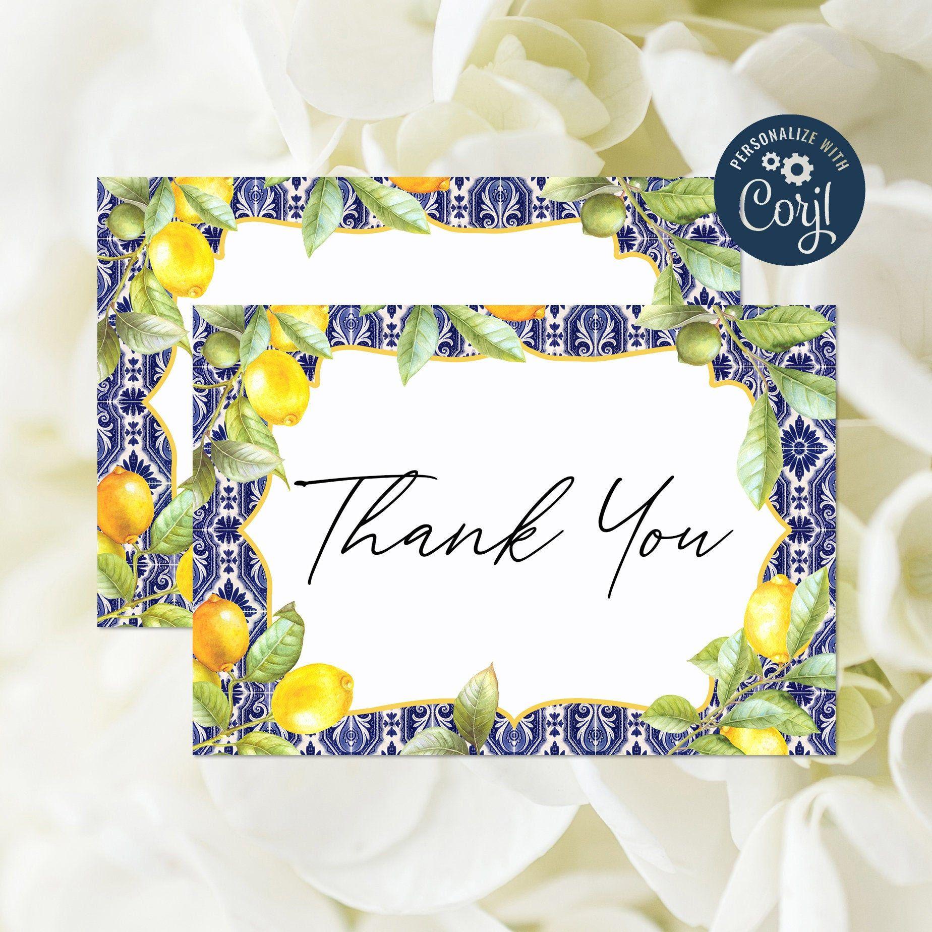Printable Thank Yous Card Citrus Thank You Shower Thank You Botanical Thank You Thanks Wedding Fruit Card Lemons Thank You Card