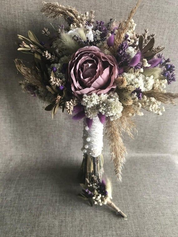 Wedding Dried Flowers  Bridal Bouquet and Boutonniere 4 Boutonniere 4 Bridesmaid Bouquet  Wedding Dried Flowers  Bridal Bouquet and Boutonniere 4 Boutonniere 4 Bridesmaid...