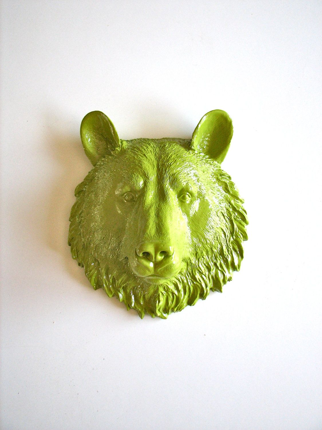 CHARTREUSE Faux Taxidermy Small Bear Head wall mount in chartreuse ...