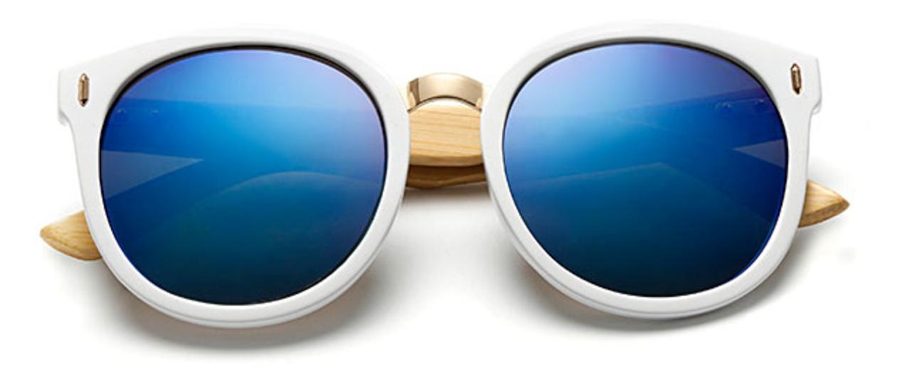 c934975876 Bamboo Sunglasses - White Frame Blue Lens | Summer Style ...