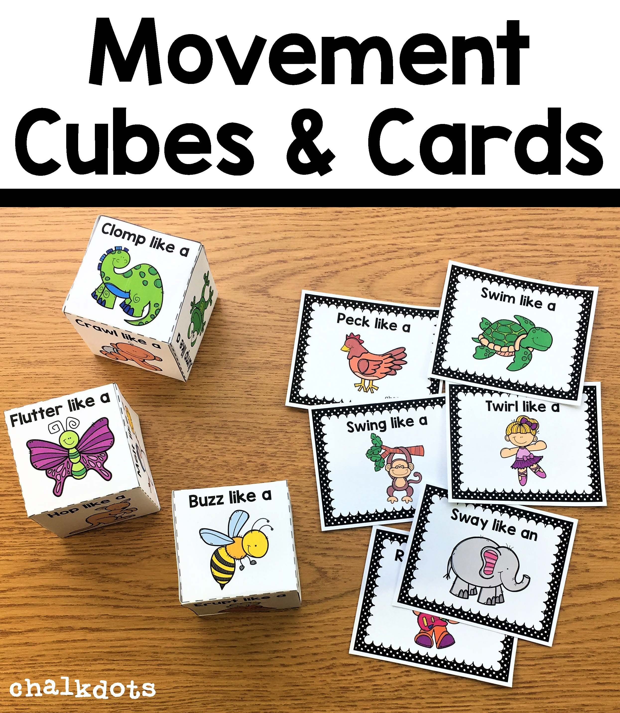 Movement Cubes and Movement Cards | Alphabet activities ...