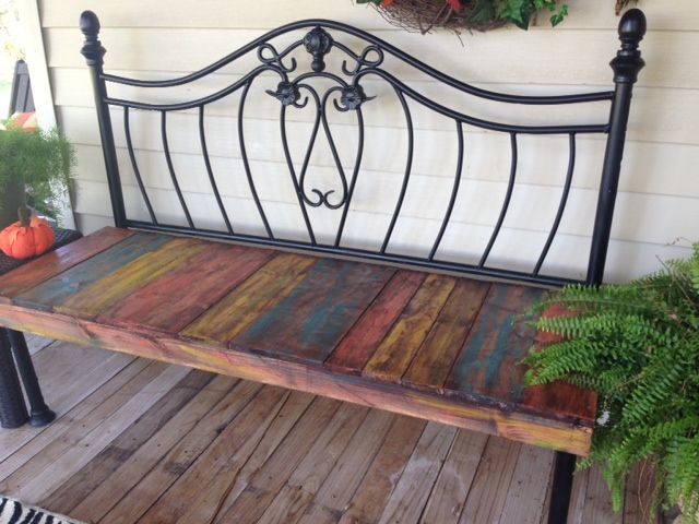 Bench Made From Iron Headboard Heck Yeah I Did That
