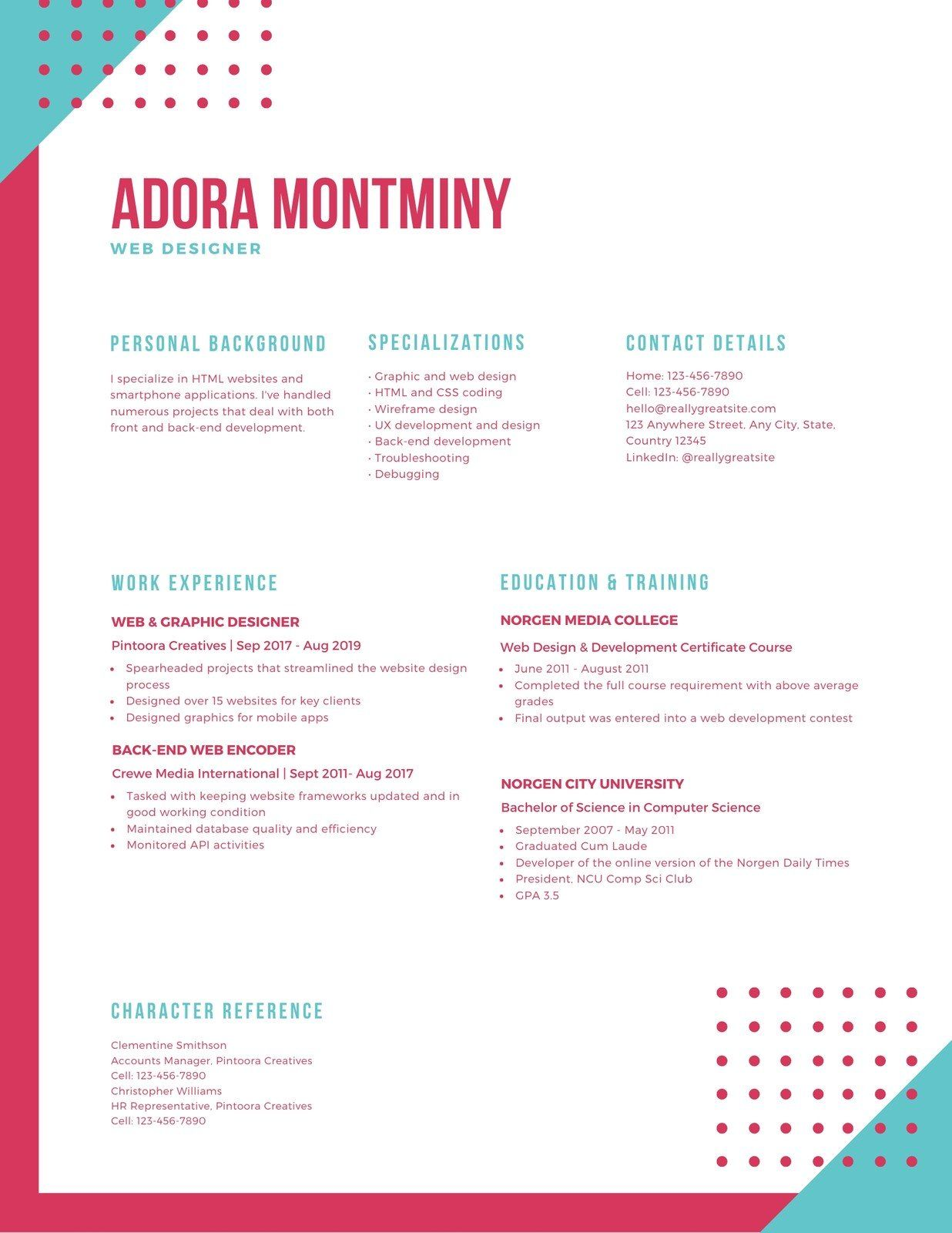 Colorful Funky Shapes Creative Resume Templates by Canva