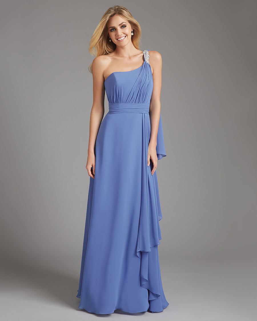 With a flair for the dramatic this one shoulder gown is ruched allure bridesmaids a flair for the dramatic this one shoulder gown is ruched and ruffled to perfection featuring a crystal accent and sweeping shoulder ombrellifo Images