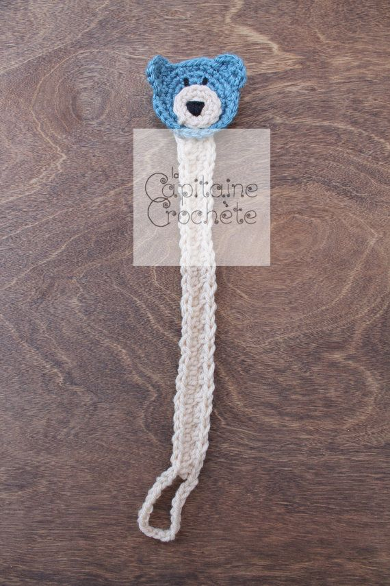 SALE Pacifier binkie clip bear teddy blue by LaCapitaineCrochete