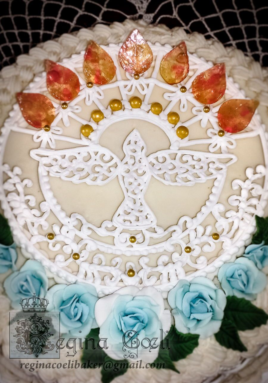 Veni sancte spiritus a confirmation cake for a sweet young lady