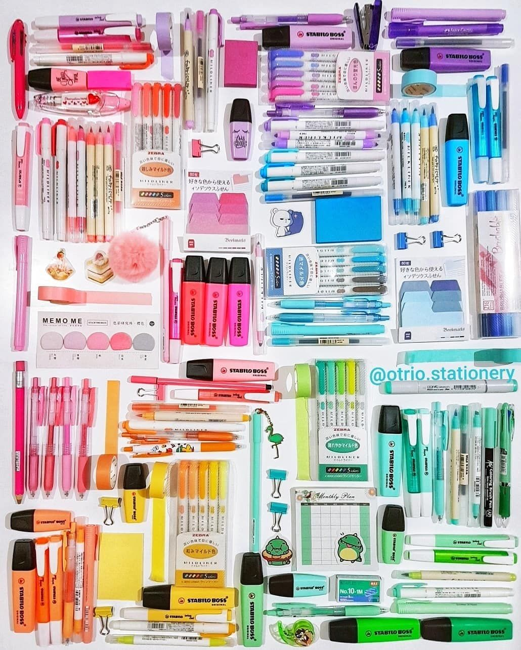 Colorful coordinated office supplies