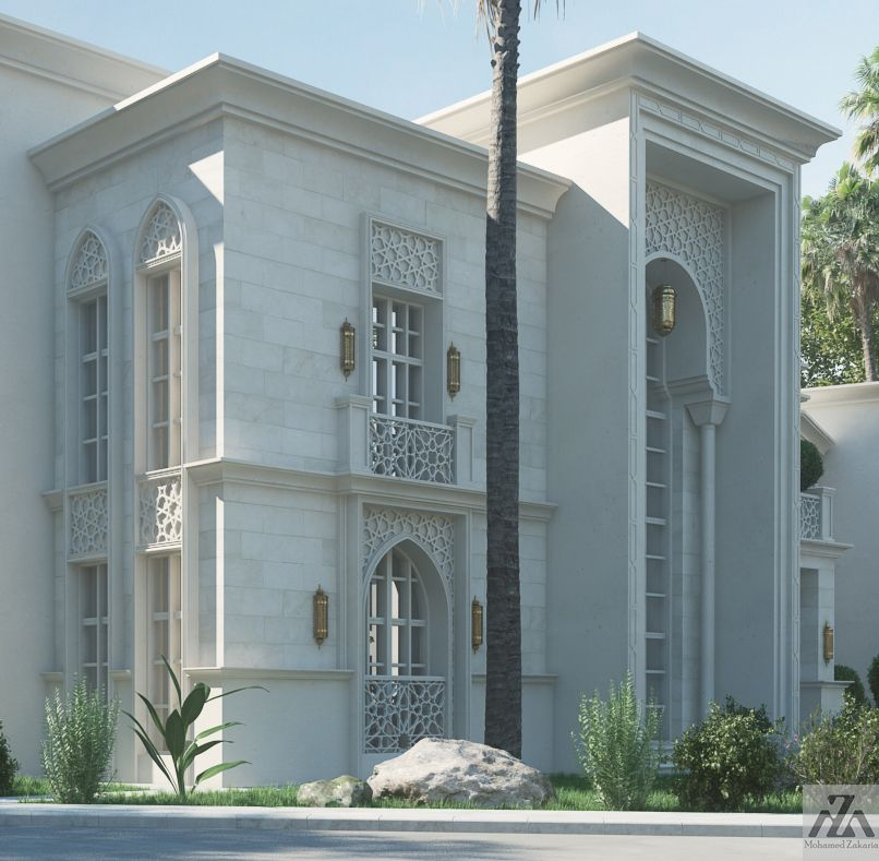 Arabic villa on behance exterior pinterest villas for Classic house facades