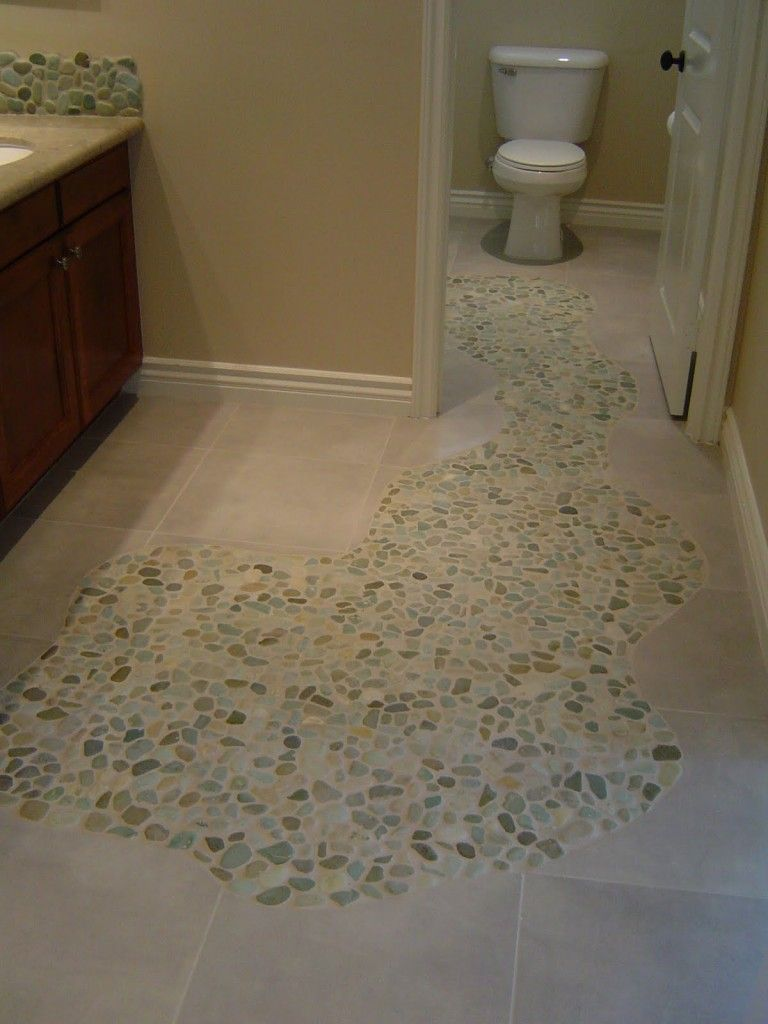 Sliced sea green and white pebble tile pebble tiles for Bathroom designs using mariwasa tiles