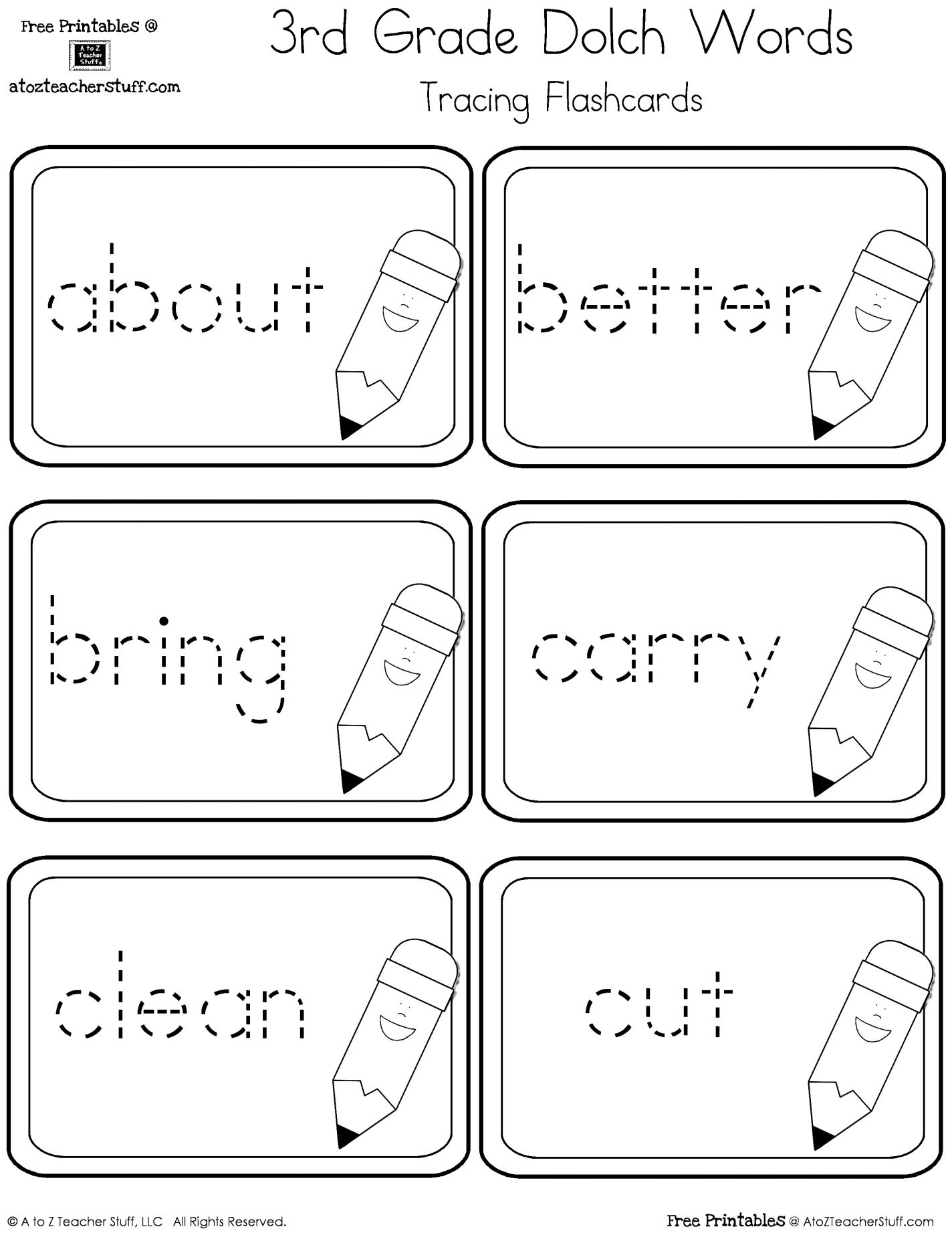 3rd Grade Dolch Words Tracing Cards Free Printables