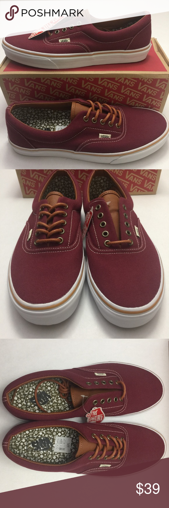 faf254596c Vans Era Shoes Men s Size 12 Work Floral - Cordovan Men s size 12 New with  box. Box may have some damage. Check my closet for many more Vans styles.