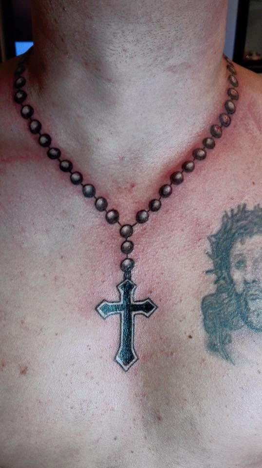 Pin By Rocky Tangorra On Ink Cross Necklace Tattoo Necklace Tattoo Rosary Tattoo