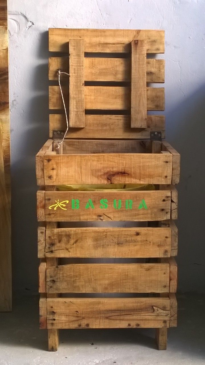 Cesto de basura hecho con pallets de todo pinterest cesto de basura cesto y palets - Palet reciclado muebles ...