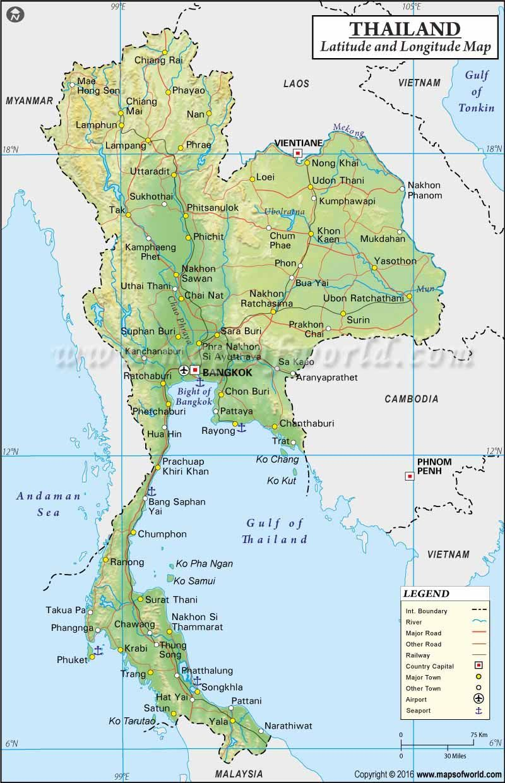 Thailand Latitude And Longitude Map Dengan Gambar Tonkin