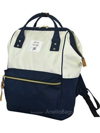 0f8ceb33f625 Japan Anello Backpack LARGE NAVY WHITE Rucksack Waterproof Canvas Bag Campus