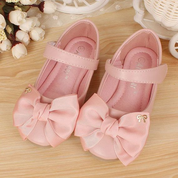 Pink Girls' Shoes/ baby pink ribbon Girls by Flowerlodge on Etsy