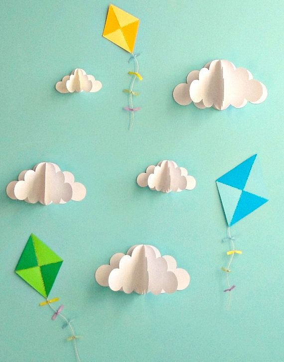 Kite Decals Paper Decals Wall Decals Wall Art 3D by goshandgolly #diywalldecor