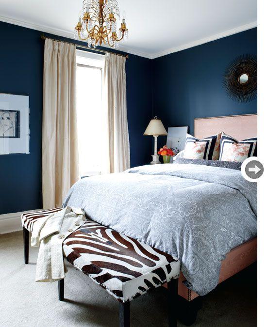 Interior Modern Victorian Rowhouse Blue Bedroom Walls Blue