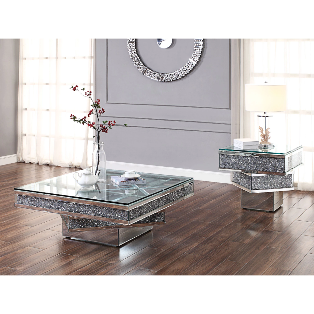 Acme Noralie Mirrored Glass Top Finish 3 Piece Coffee Table Set