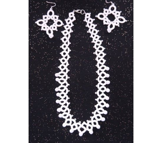 Special Day Needle Tatted Necklace and Earrings,