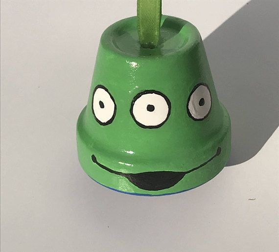 Little Green Alien Ornament Toy Story Painted Clay Pots Hand Painted Ornaments Painted Ornaments