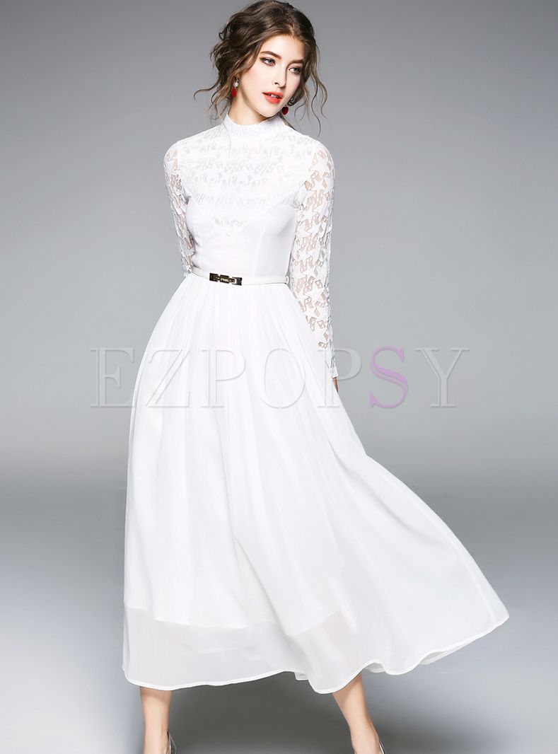 16b6c5eca5a30 White Elegant Lace Hollow Maxi Dress in 2019 | Temple Dress ...