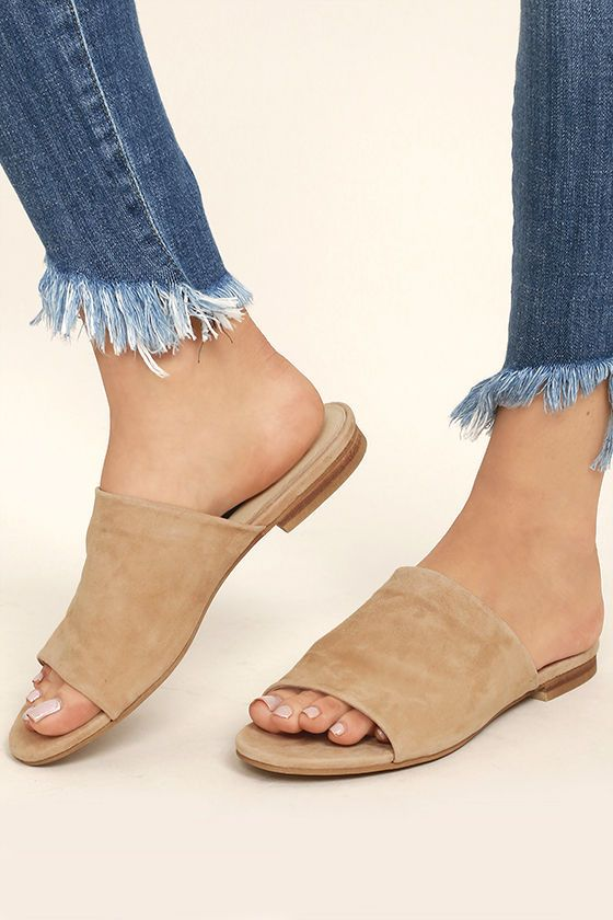 84bd6f83078 The Steven by Steve Madden Calahan Sand Suede Leather Peep-Toe Mules are  easy to wear