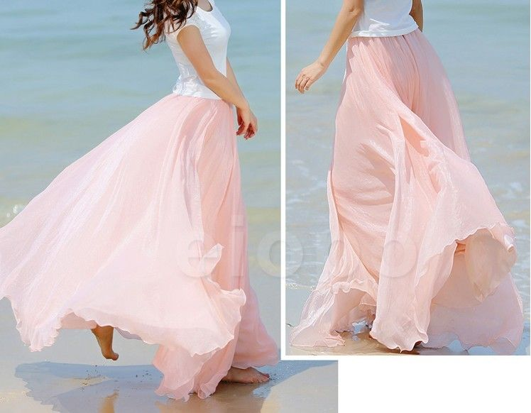 0c9219fe47 Baby Pink Long Chiffon Skirt Maxi Skirt Ladies Silk Chiffon Dress Plus  Sizes Sundress Beach Skirt Oversize