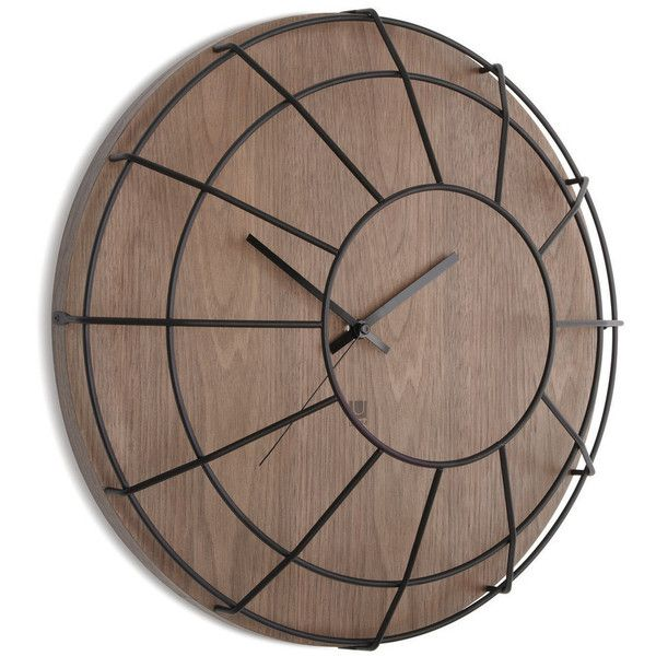 Umbra Cage Wall Clock - Black/Walnut ($83) ❤ liked on Polyvore featuring home, home decor, clocks, black, battery powered wall clock, umbra clock, umbra wall clock, inspirational home decor and black wall clock
