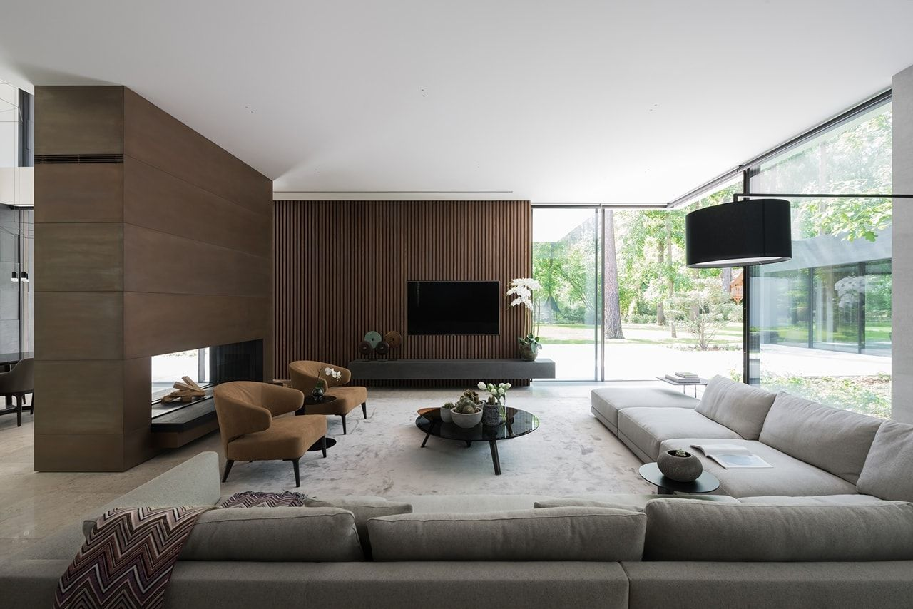 Bright Living Room Design In Modern Forest House Designed By