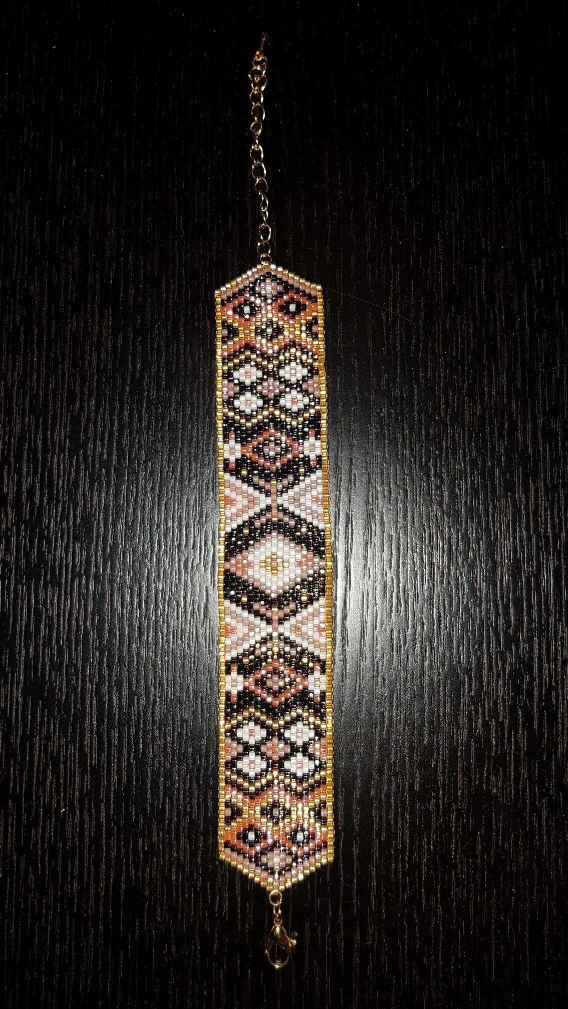 Bracelet Perles Miyuki - Tissage peyote - Modèle Perles & Co détourné