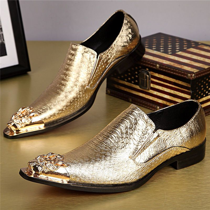 Men's PU Leather Derby Night Club Fashion Oxford Dress Shoe With Gold Metal