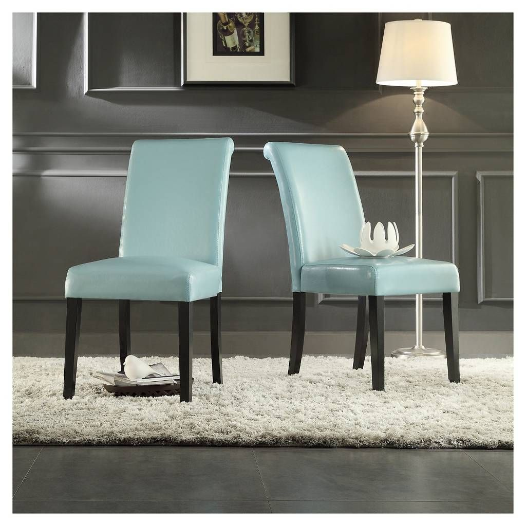 Salido Parson Dining Chair Wood/Sky Blue (Set of 2) - Inspire Q