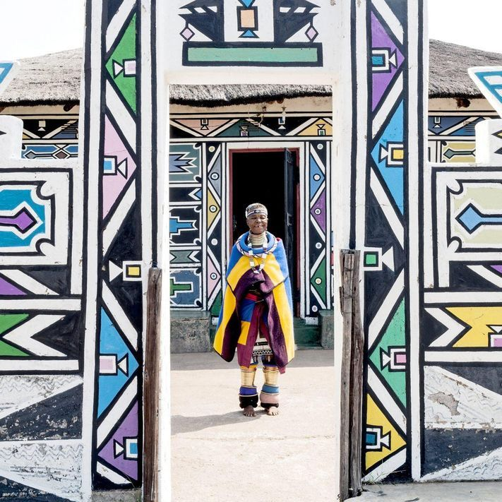 Photo of Esther Mahlangu, One Of South Africa's Most Famous Artists, Perpetuates Traditional Ndebele Painting