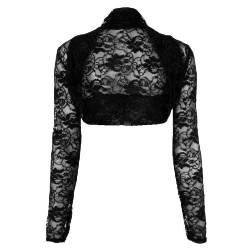 Womens Ladies Beaded Long Sleeve Collared Short Bolero Crop
