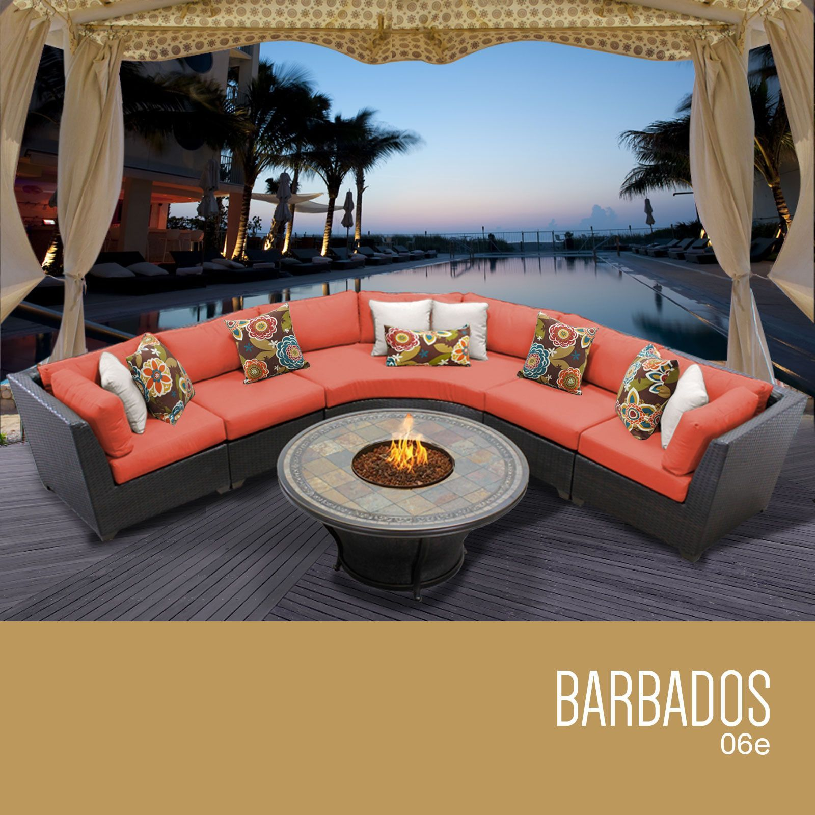 Barbados 6 Piece Outdoor Wicker Patio Furniture Set 06e