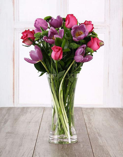 Pink And Purple Floral Surprise Tulip Gifts Mothers Day Flowers Purple Floral Happy Birthday Flower