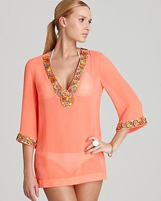 6477dd69c5d Milly Embellished Chiffon Catalina Beaded Tunic Swimsuit Cover Up    Bloomingdales