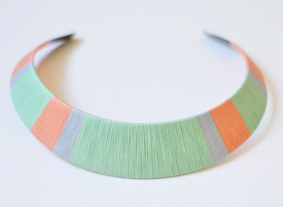 Colorblock Thread Wrapped Statement Bib Necklace  http://www.etsy.com/shop/theglossyqueen?ref=seller_info_count
